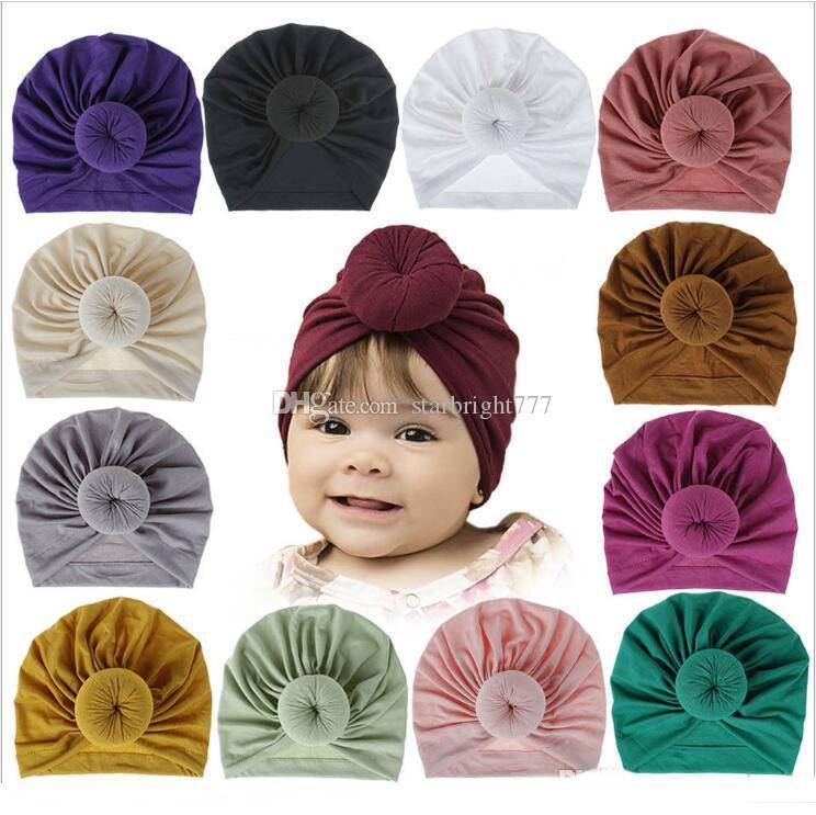 Baby Indien Hüte Mädchen Donut Schädelkappen Massive Baumwolle Hut Ins Knoten Turban Infant Beanie Head Wraps Stirnband Kopfbedeckung Neugeborene Headwears