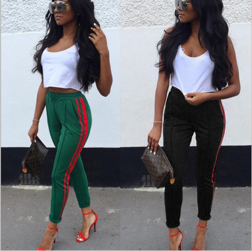 2019 New Women Side Stripe Pants High Waist Elastic Ladies Casual Streetwear Fashion Slim-fit Patch Pencil Pants Ankle-length Sports Trouser