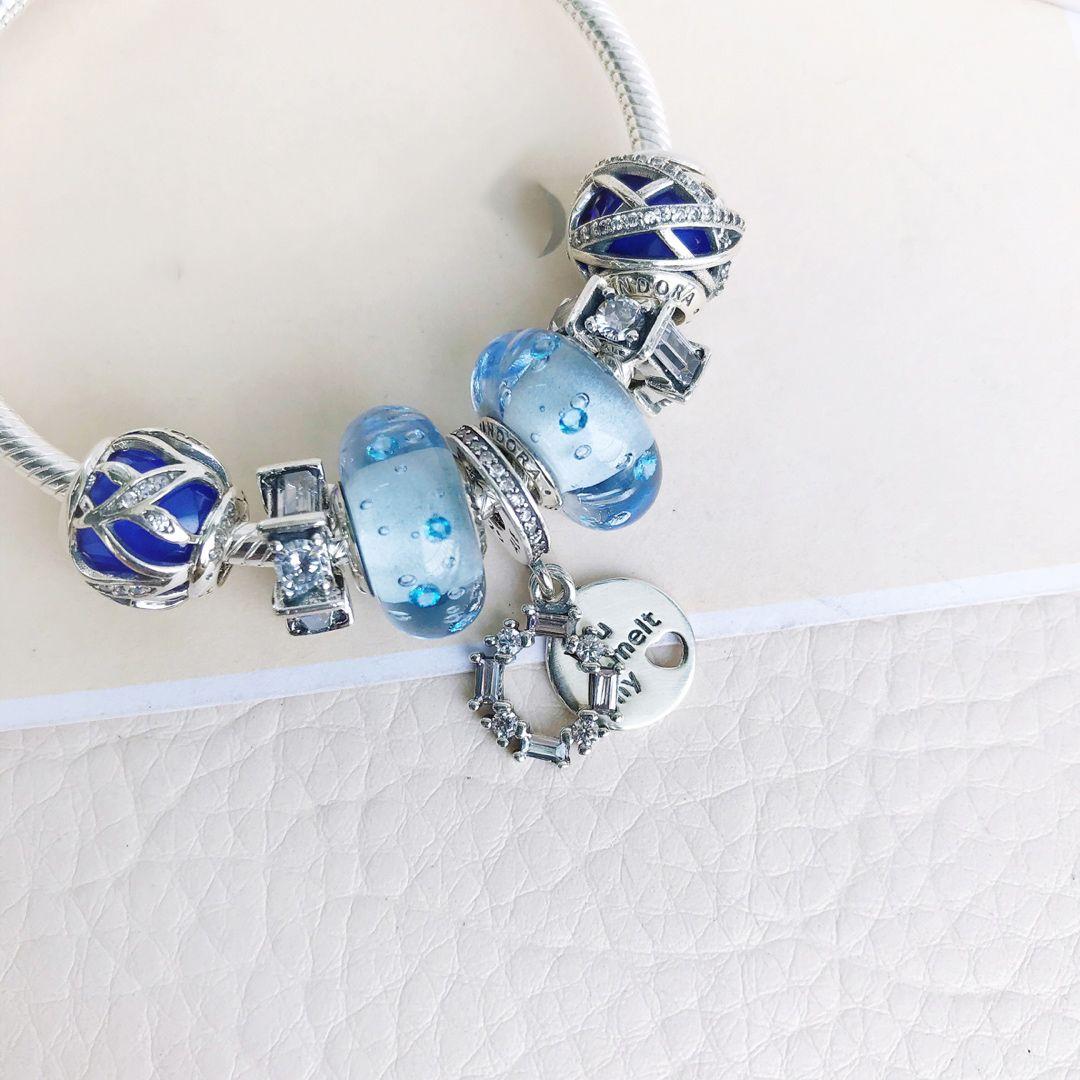Crystals form Swarovski Blue galaxy 925 silver string silver serpent bone chain bracelet ornament DIY beaded Gift selection for elegant lady