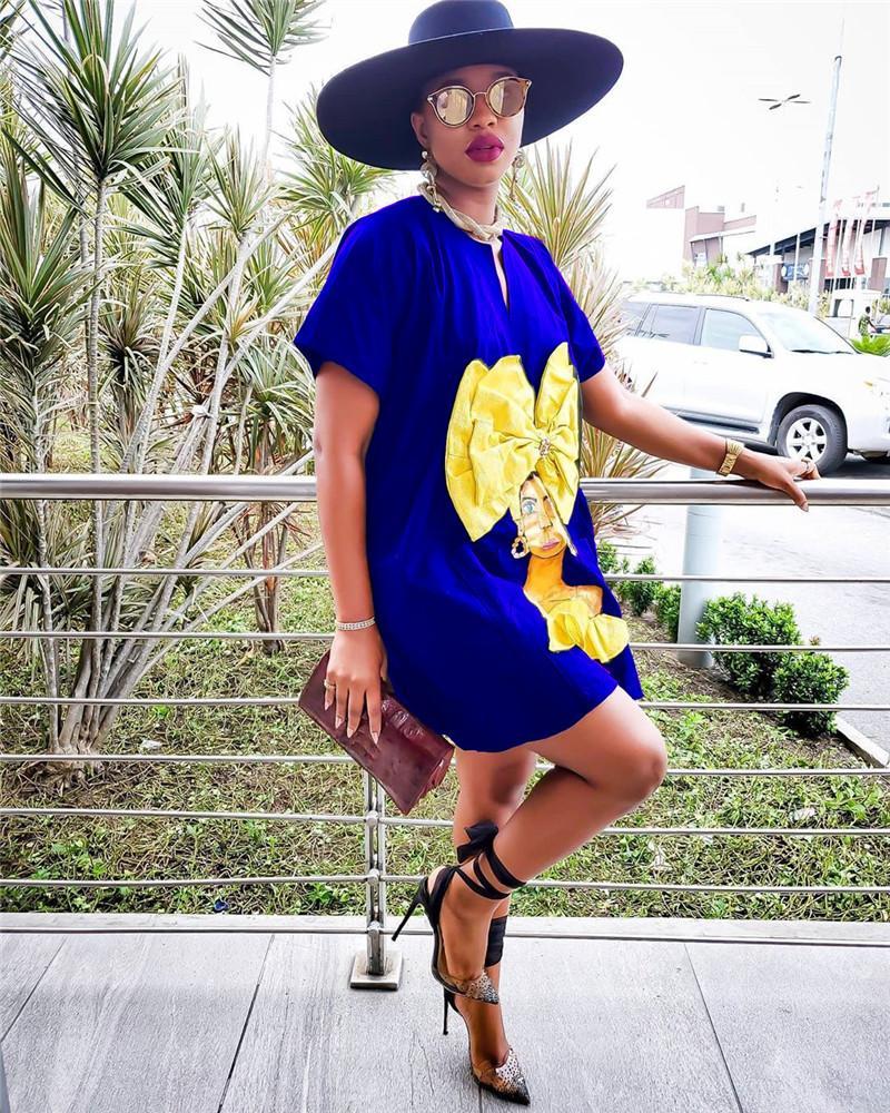 Gril Impreso vestidos casuales de la moda para mujer Ropa de vestir flojo manga corta con cuello de pico de paquetes para mujer diseñador
