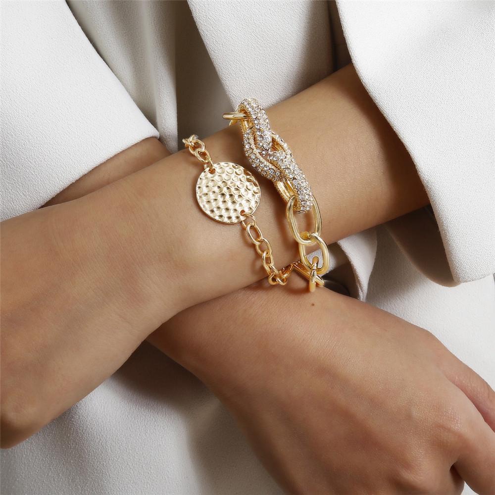 Luxury 2pcs Set Women Chain Bracelets Pendant Cross Chain Lots Crystal Charm Circular Mark Fashion Party Jewelry FJ104