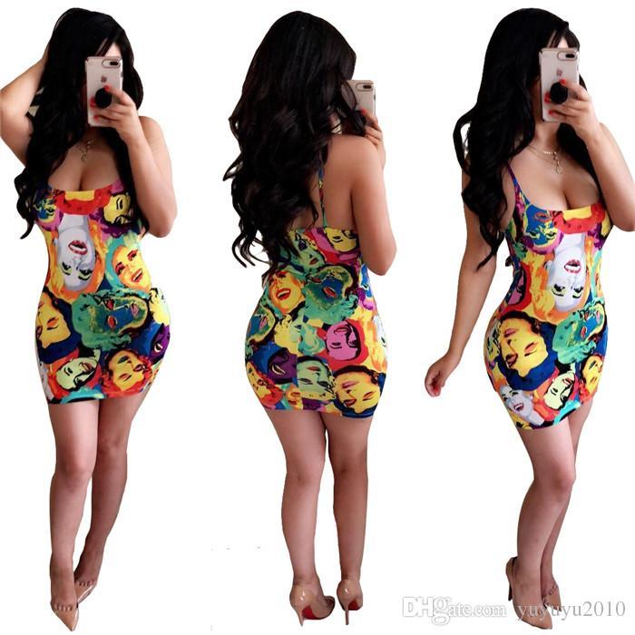 2019 حار بيع مصمم الغريبة sexybeach نمط المرأة اللباس طباعة أكمام حمالة bodycon البسيطة اللباس vestidos wyn W8048