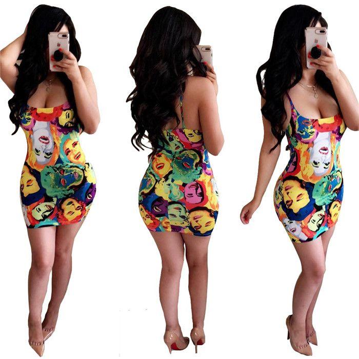 2019 Hot Sale Exotic Designer SexyBeach Style Women Dress Print Sleeveless Strapless Bodycon Mini Dress Vestidos wyn W8048