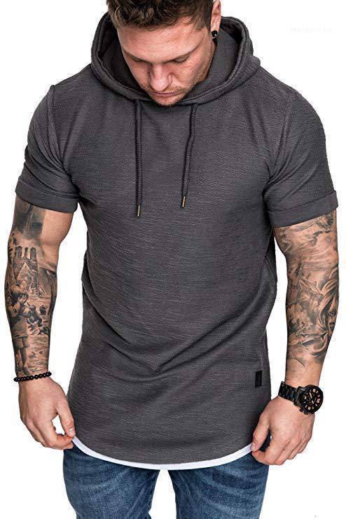 Styliste capuche Hommes T-shirts manches courtes Sport solide Homme Hauts d'été Vêtements pour hommes