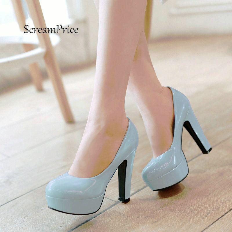 Plataforma Mulheres Grosso De Salto Alto Preguiçosos Sapatos de Moda Shallow Vestido Partido Sapatos Preto Rosa Azul