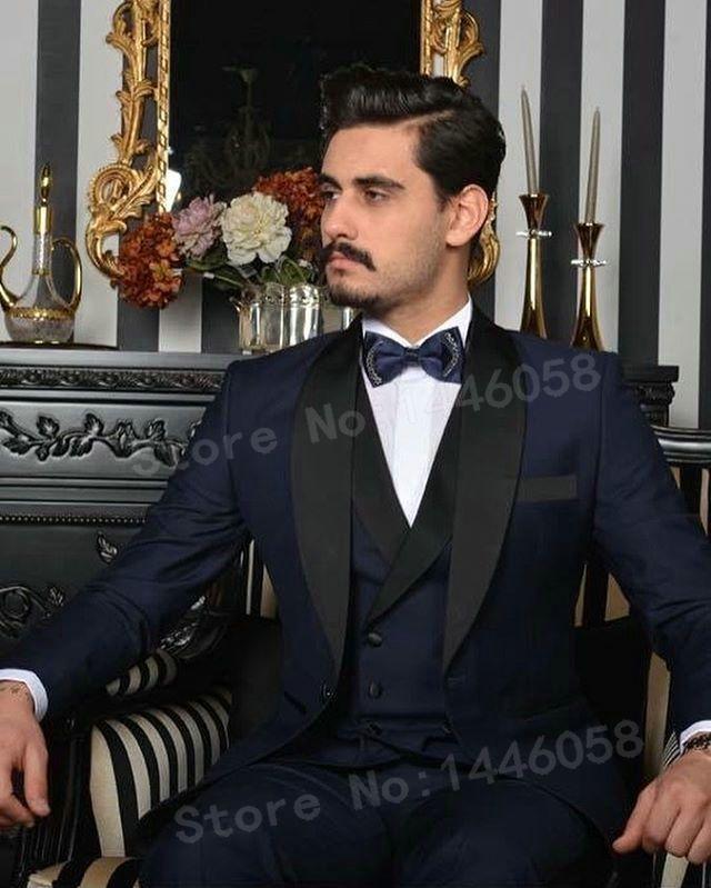 Scialle personalizzato Smoking dello sposo con risvolto Smoking Groomsmen Vestito da uomo completo Abiti da uomo (giacca + pantaloni + gilet + cravatta + fazzoletto) P: 24