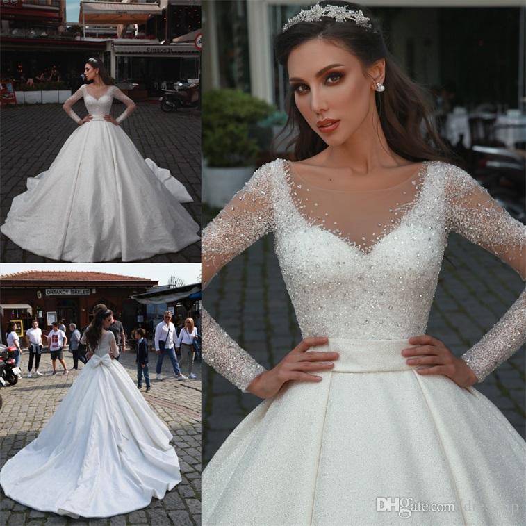 Árabe vestidos de boda de lujo una línea cuello de la joya con cuentas de lentejuelas vestido de la boda modesta por encargo del tren del barrido de manga larga Vestidos de novia