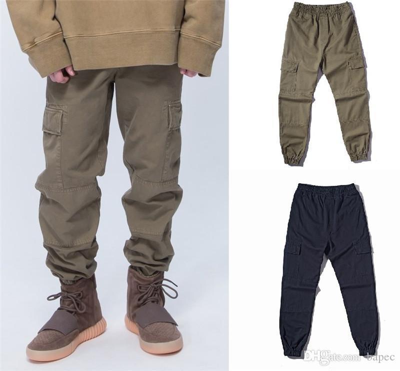 Wash Vintage-Cargohose Modedesigner lose Bleistift-Hosen mit Taschen Herren Hip Pop Kordelzug Hosen