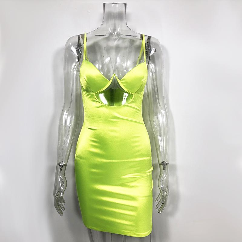 Fashion-NewAsia 2 strati sexy abito di raso Neon Cut-out Vestito aderente Donne stretta donna vestiti dalle signore Summer Party Night Party Nuovo