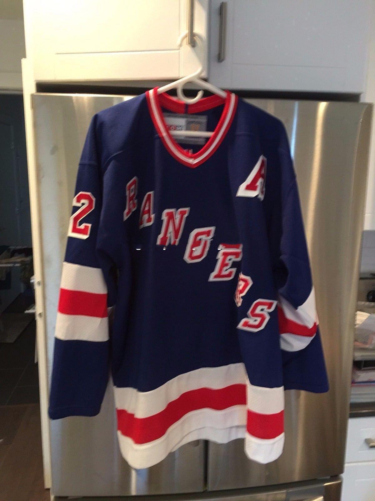 Brian Leetch # 2 New York Rangers CCM epoca hockey jersey su ordinazione poco costoso personalizzato Mens personalizzata cuciture maglie