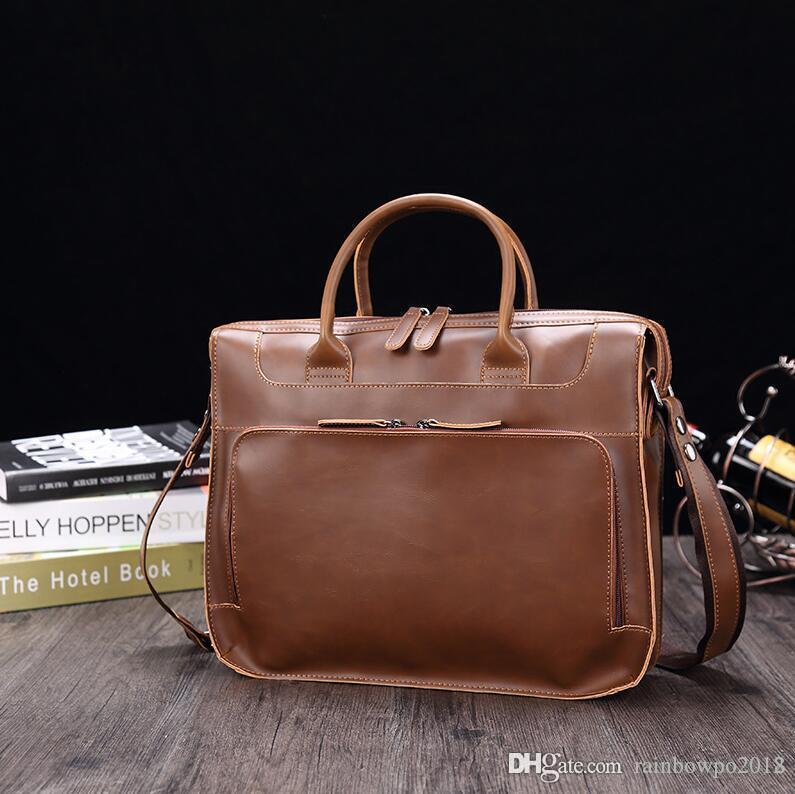 Factory wholesale men handbag new leather portable briefcase retro crazy horse leather laptop bag cross multifunctional leather shoulder bag
