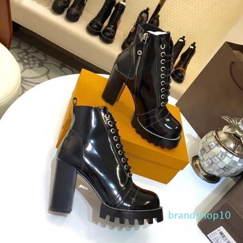 Damenschuhe Winter Black Platform Ankle Boots Luxus-runde Zehe-Absatz schnüren sich oben Damen-Schuhe Frau Botas Mujer Invierno 2019