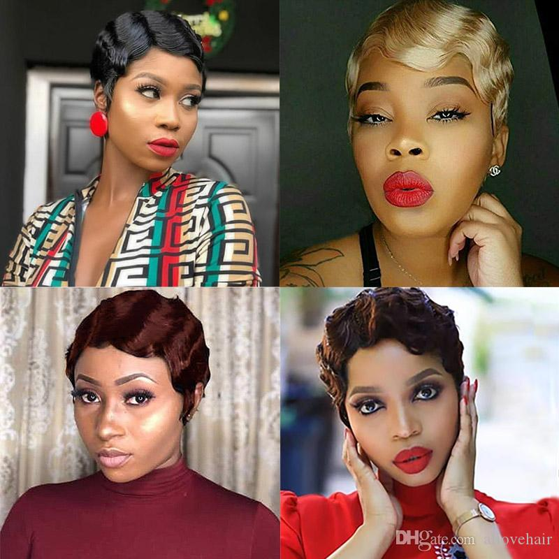 Old Fashion Blonde Color #27 Short Wigs Peruvian Hair Curly Wave Swiss Lace Wig 2# Malaysian Human Hair Wigs for Black Women
