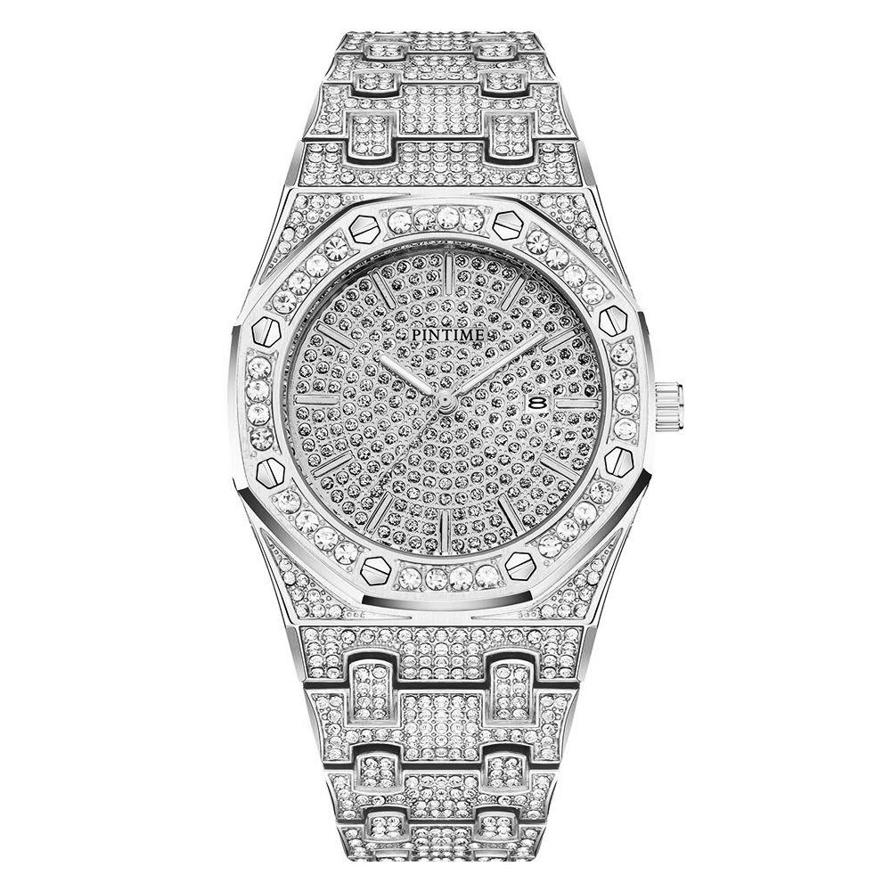 الجملة الرجال النساء أزياء ووتش التصميم الكلاسيكي الماس ووتش الجليد خارج الساعات الفولاذ المقاوم للصدأ الكوارتز حركة التسلق ساعة اليد