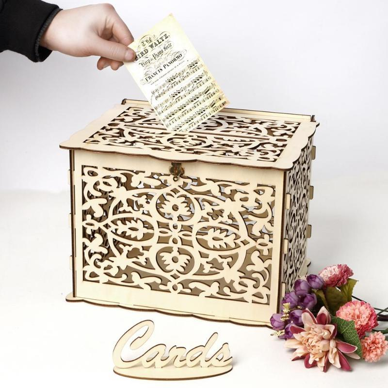 DIY Wedding Gift Card Box Wooden Money Box with Lock Beautiful Wedding Decoration Supplies for Birthday Party Party Decoration
