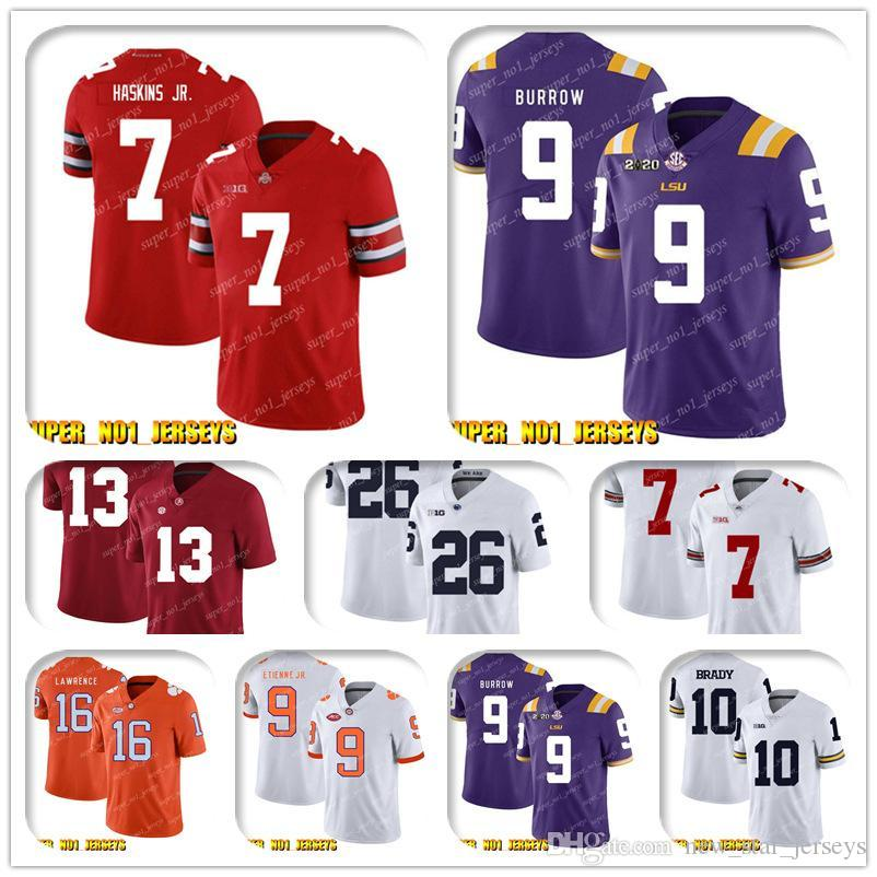 NCAA 7 Dwayne Haskins Jr 9 Joe Burrow Clemson Tigers Koleji Futbol Jersey, Matt Ryan Julio Jones Todd Gurley Ridley Deion Sanders