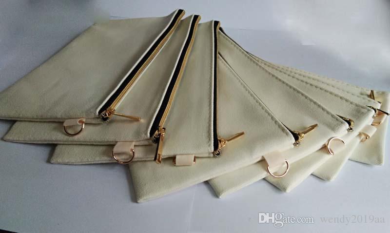 DHL 50pcs Cosmetic Bag Black Gold tela di cotone con cerniera sacchetti cosmetici fai da te donne casi Organizer blank pochette telefono pianura