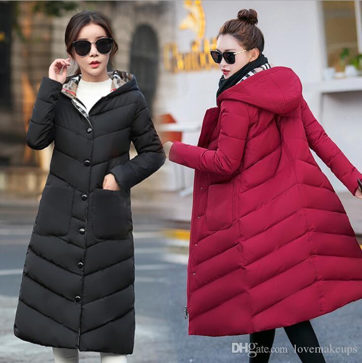 Abrigo largo con capucha Escudo Mujer Mujeres invierno gruesa abajo chaqueta para mujer de algodón Bolsillos Outwear Parkas más el tamaño XXXL