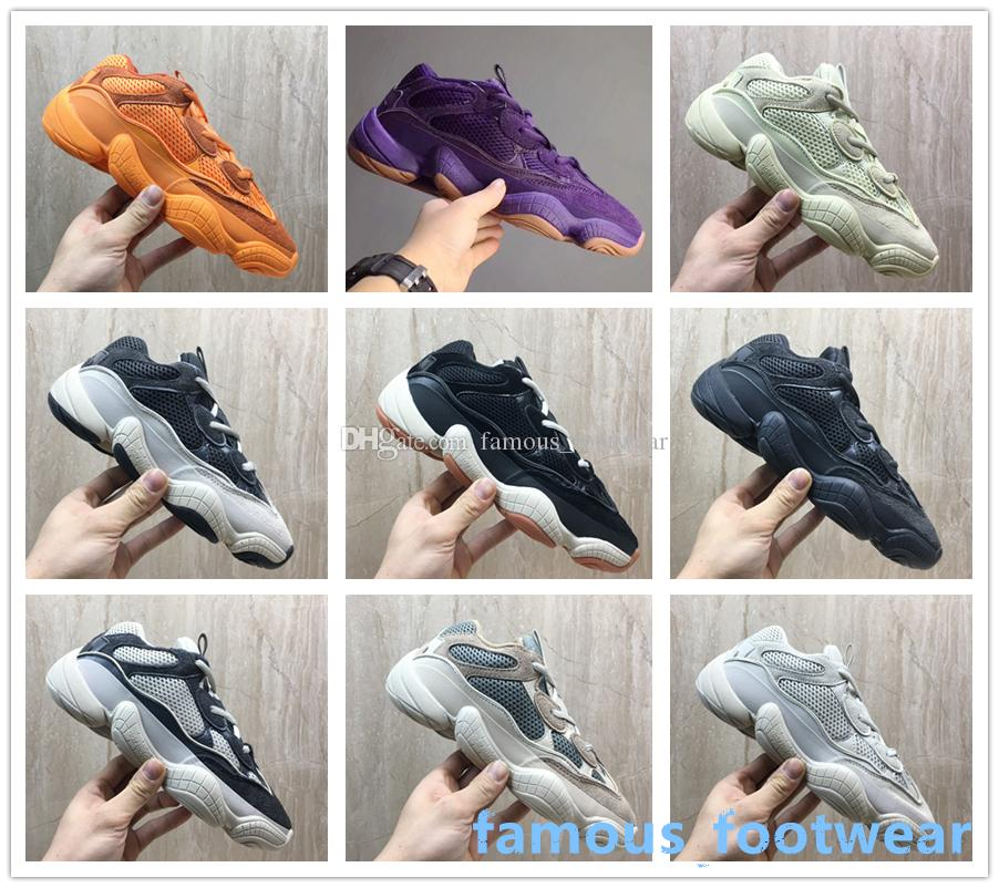 De calidad superior 500 Blue Desert Rat Kanye West zapatillas de color rosa corredor de la onda 500 Marrón Violeta Ejecución zapatos para hombre zapatos deportivos