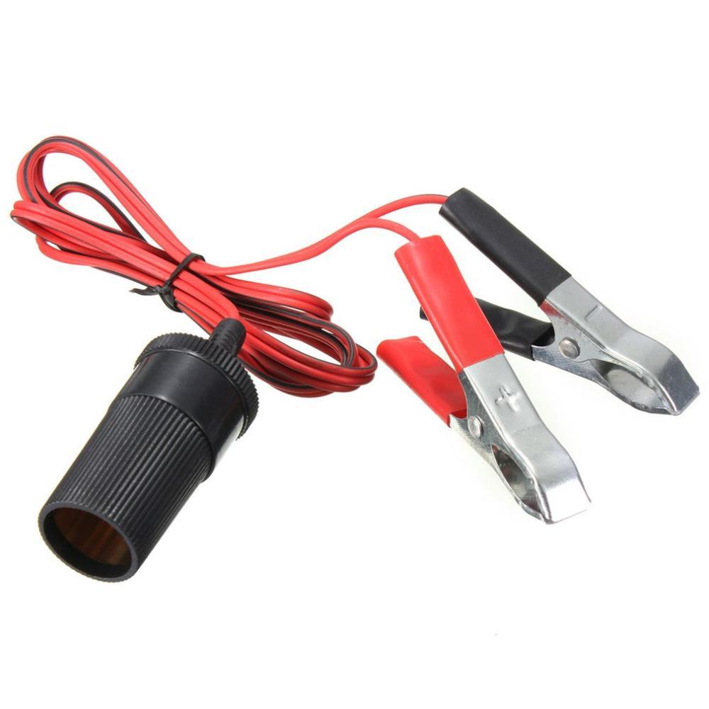 12V universal auxiliar del coche encendedor de cigarrillos clips zócalo conector de la batería cocodrilo del cable de extensión adaptador de alimentación