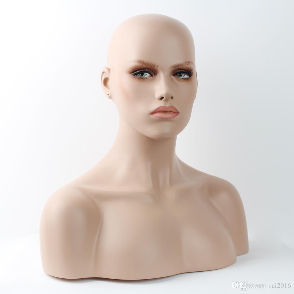 YNF012 Busto testa di manichino femminile realistico in vetroresina per parrucche