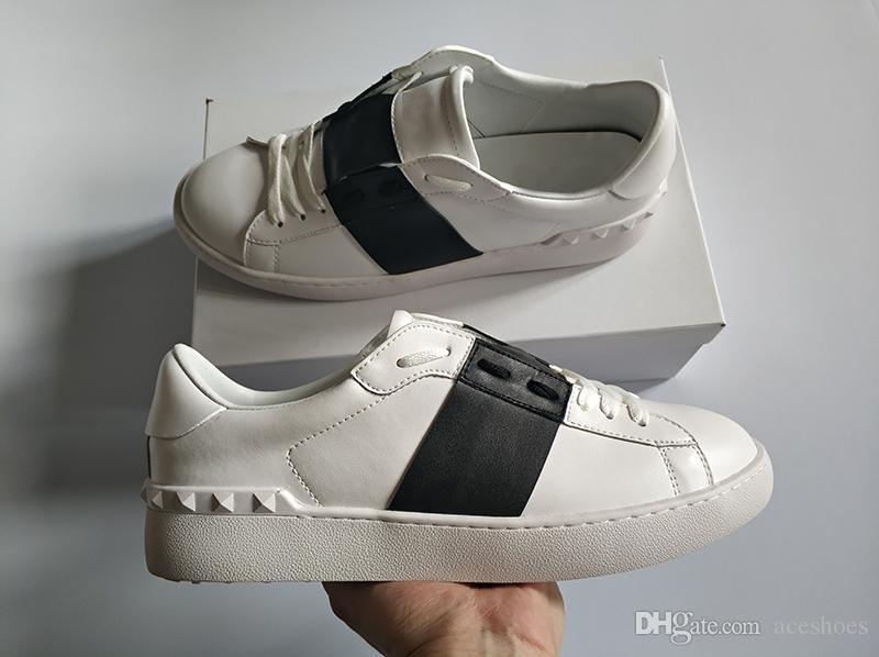 satılık En Çok Satan Moda Erkekler Kadınlar Lüks Tasarımcı Ayakkabı Açık Siyah bandaj Klasik Gerçek Deri Casual Marka ayakkabı tasarımcısı boyutu 34-46