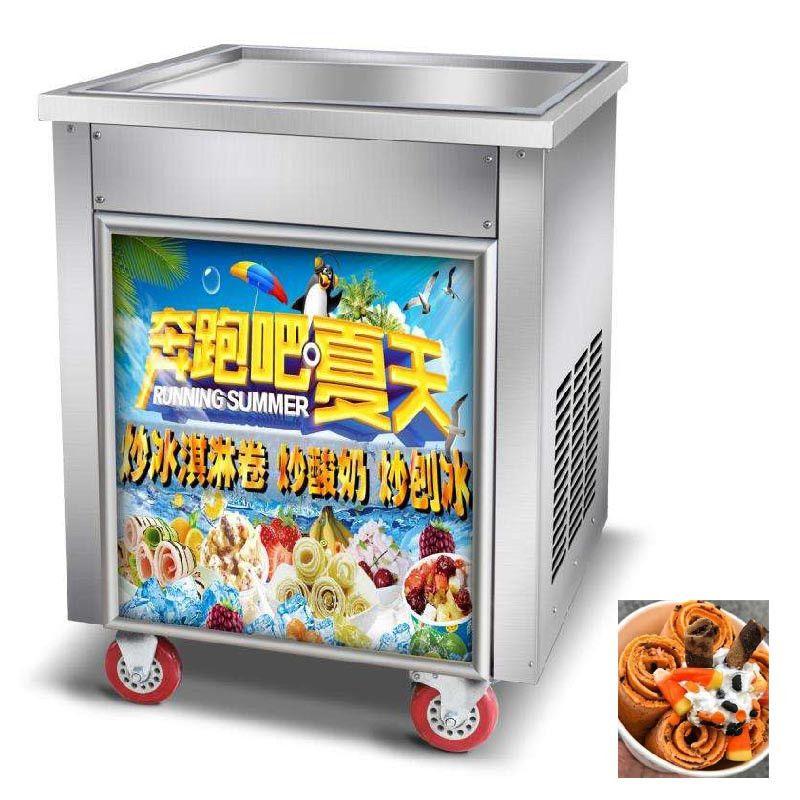 Máquina de helado frito de Beijamei / 110V 220V Máquina de rollos de helado Máquina de un solo cuadrado