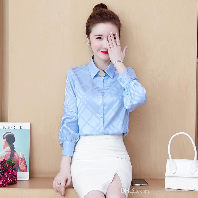 Yeni Klasik Ekose Gömlek Ipek Saten Tops Kadınlar Uzun Kollu Yaka Yaka Moda Tasarımlar Bayanlar Bluzlar Ofis Pisti Artı Boyutu Düğme Gömlek