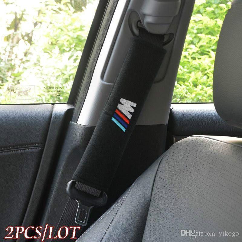 غطاء سلامة حزام لسيارات BMW E70 X5 E82 E92 E93 M3 E87 E46 X1 غطاء مقعد حزام الكتف وسادة اكسسوارات السيارات 2PCS / LOT