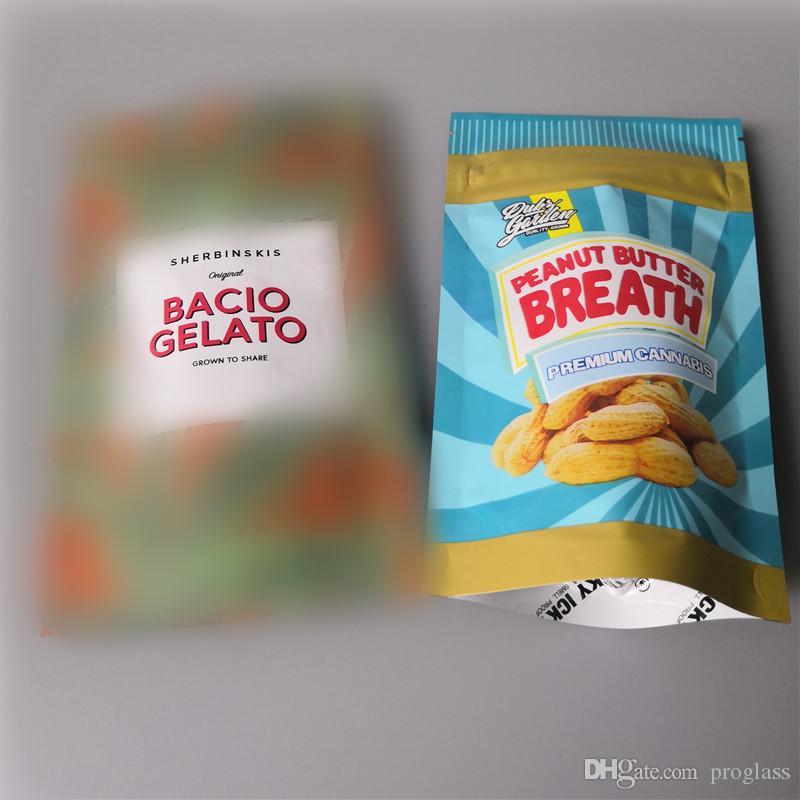 A respiração da manteiga de amendoim e sherbinskis bacio gelato amendoim manteiga de amendoim cheiro à prova mylar sacos com suporte sacos de empacotamento