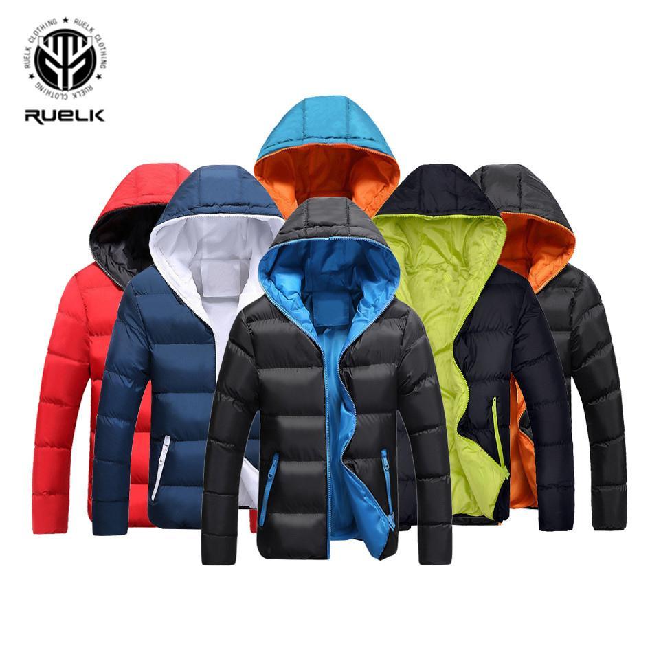 RUELK Новая зима Мужчины куртка теплая Повседневный Бленда хлопка Мужской Parka с капюшоном Solid Color Верхняя одежда Мода на севере лица Мужские пальто S191128