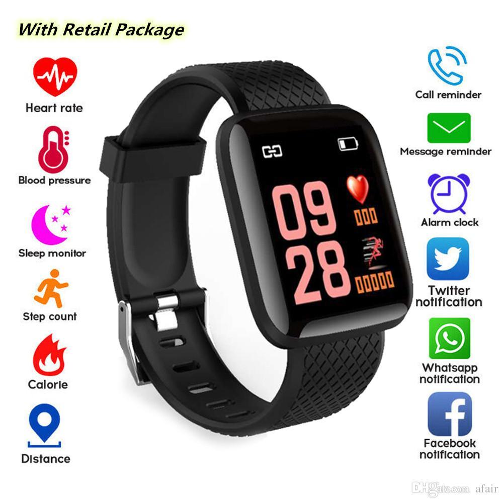116 Além disso relógio inteligente pulseiras 1,3 polegadas de Fitness Rastreador Heart Rate contador de passos Activity Monitor Banda pulseira PK 115 para iphone Android