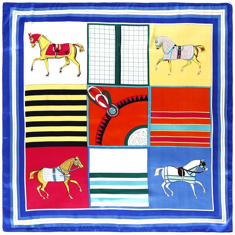 Foulard Spagna Sciarpe Foulards Femme Sciarpa di seta del cavallo delle donne Plaid manuale Stampa Wrap mano Bandana Piccolo Hijab 90