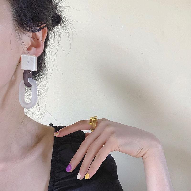 Coréen rétro couleur givré acrylique transparent Boucles d'oreilles longues Boucles d'oreilles en résine colorUL Filles d'été Aiguille d'Argent