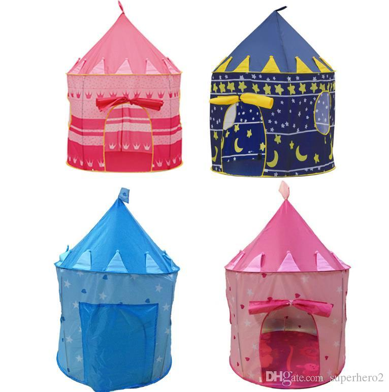 Cubby House Playhouse Kids Cartoon Castle Tent Dome Indoor Outdoor Play Toys Tents For Girl Boy Children Birthday Party Gift blue pink