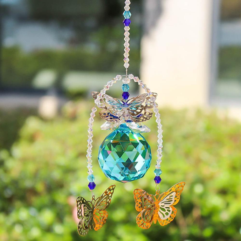 40mm hecho a mano mariposa bola de cristal prismas ventana Sun Catcher ornamento Rainbow Maker colgante Suncatcher inicio decoración de la boda