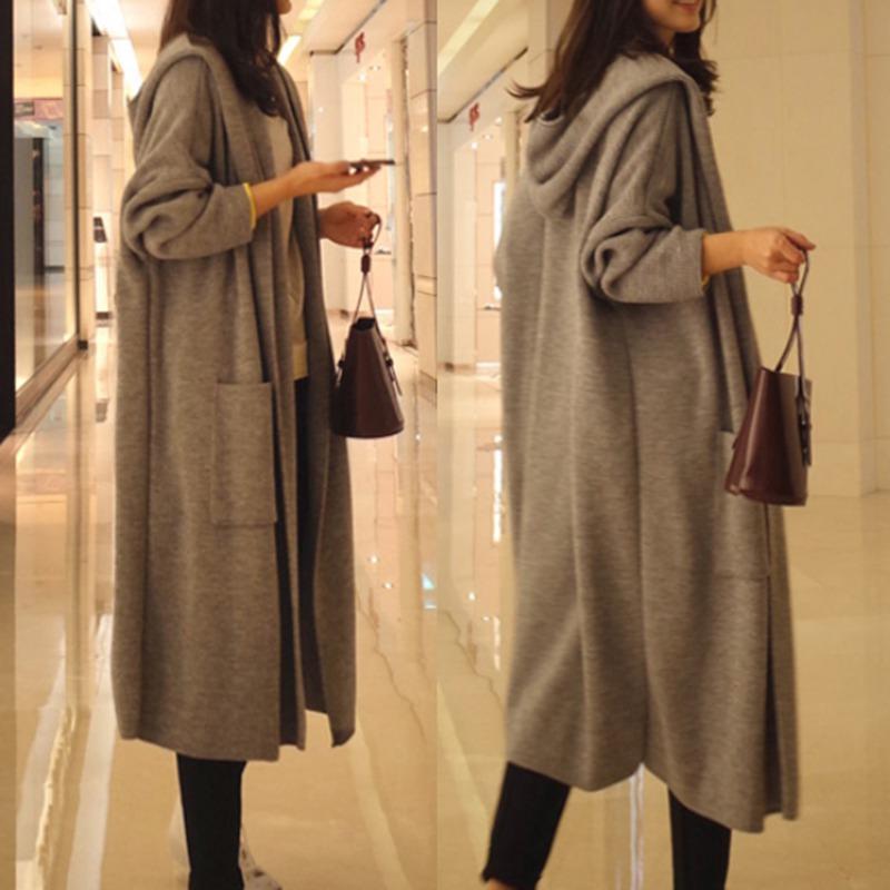 2018 가을 겨울 니트 후드 카디건 여성 패션 긴 소매 솔리드 카디건 스웨터 여성 캐주얼 루스 Outwear Tops