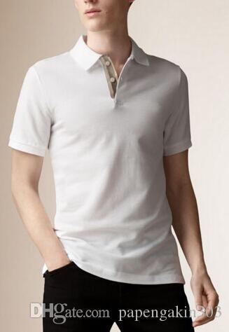 Printemps Angleterre Hommes Londres Brit Cheval brodé Coton Polos Chemise unie Polo Homme Sport T-shirts Marine Noir Bleu Blanc Taille S-XXL