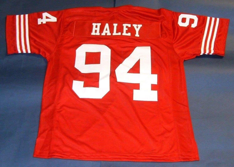Günstige Retro # 94 Charles Haley CUSTOM JERSEY rot Mens Stitching High-End-Größe S-5XL Fußball Trikots Hochschule NCAA