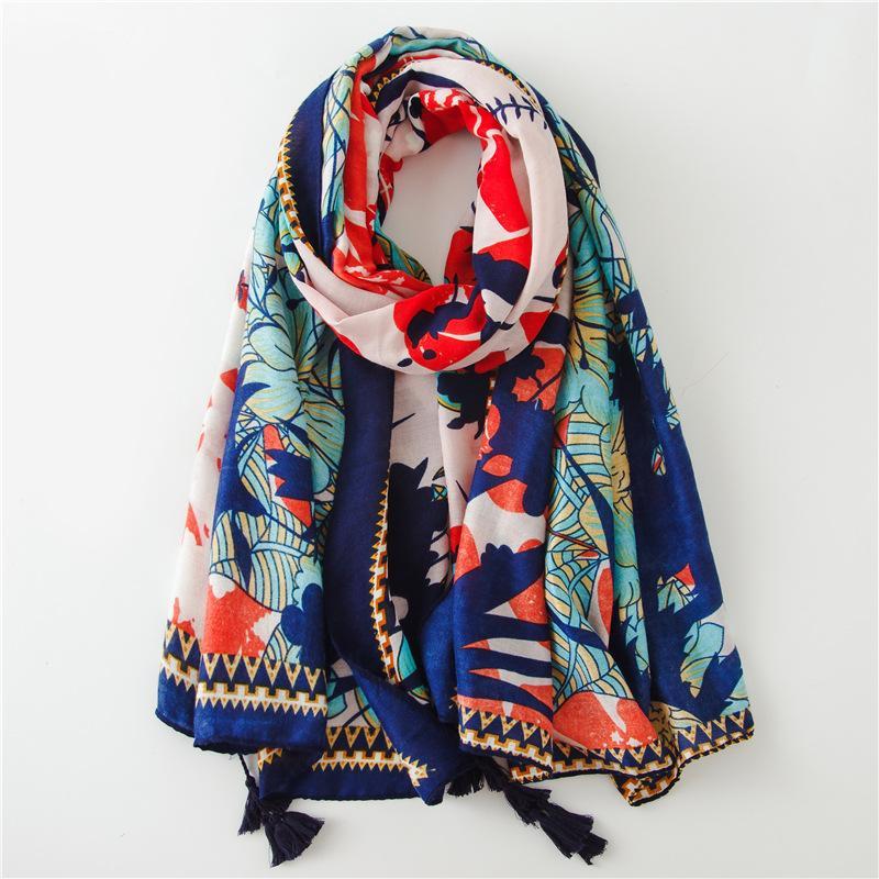 숙 녀 패션 스페인 브랜드 Viscose 스카프 가을 겨울 인쇄 두꺼운 Shawls 및 랩 Pashmina Stole 이슬람 Hijab Snood