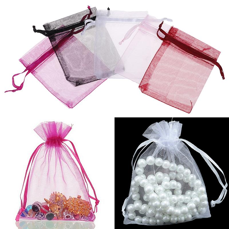 100 Pcs/bag Organza Gift Bags Jewelry Candy Bag Wedding Favors Bags Mesh Gift Pouches Container Organizer Party Supply
