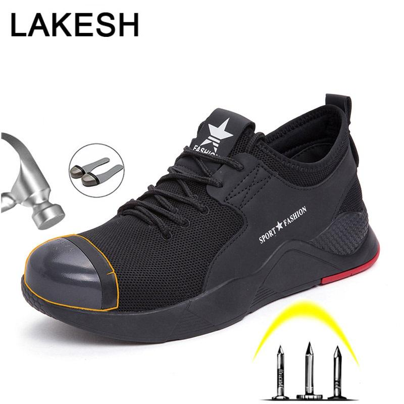 Men Work Safety Shoes For Men Sneakers Steel Toe Cap Shoes Anti-smashing Work Safety Boots Breathable Industrial