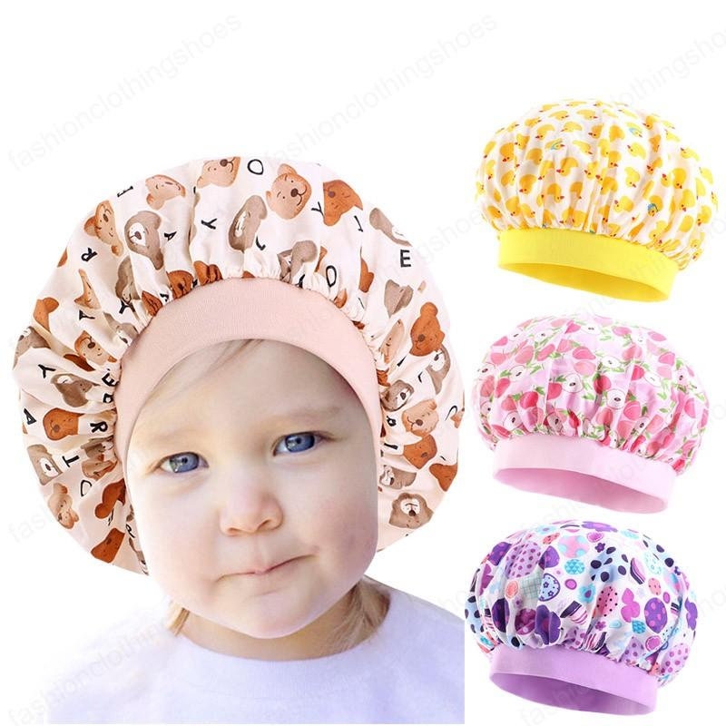 القطن بونيه لالزهور الأطفال طباعة العناية بالشعر قبعة الفتيات الصغيرات ليلة النوم أطفال كاب غطاء الرأس حك إكسسوارات الشعر الجديد