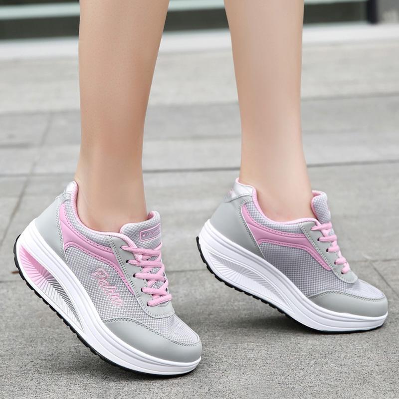 Women Sneakers Vulcanized Shoes Summer Slip On Flat Fashion Women Mesh Heightening Shoes Soft Bottom Rocking Sneakers