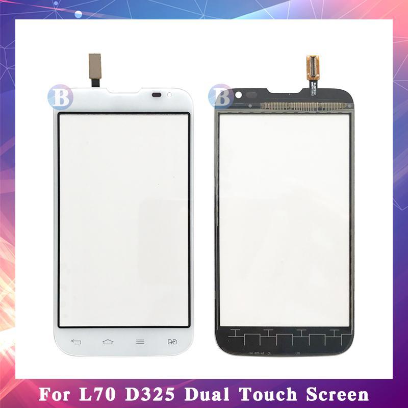 """10 قطعة / الوحدة جودة عالية 4.5 """"ل lg l70 d320 و l70 d325 لمس الشاشة محول الأرقام الاستشعار الخارجي زجاج عدسة لوحة أسود أبيض"""