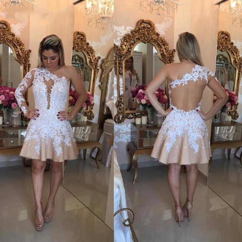 Потрясающие линия одно плечо Короткое платье Sexy Backless аппликациями Пром Homecoming Формальное особый случай сшитое