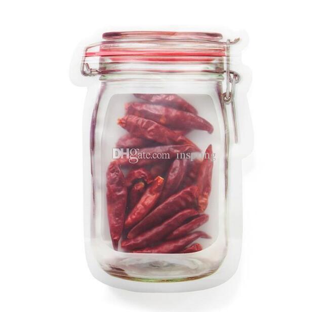 19,6 * 13,5 CM Sichere Reißverschlüsse Aufbewahrungsbeutel Kunststoff Einmachglas Geformte Lebensmittelbehälter Resuable Umweltfreundliche Snacks Tasche