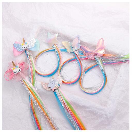Cadılar Bayramı Partisi için kızlar Renkli Unicorn Kelebek Yıldız Peruk Tokalar Çocuklar Sevimli Saç Klipler Bantlar Tokalarım Çocuk Saç Aksesuarları