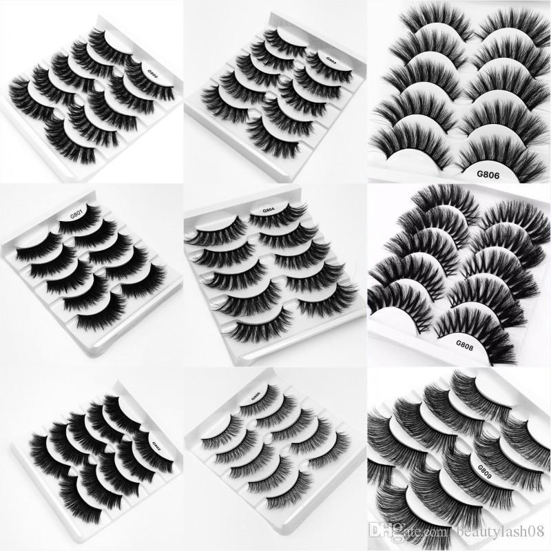 5 Pairs /Set 3D Mink Hair Natural Cross False Eyelashes Long Messy Makeup Fake Eye Lashes Extension Make Up eyelash G815