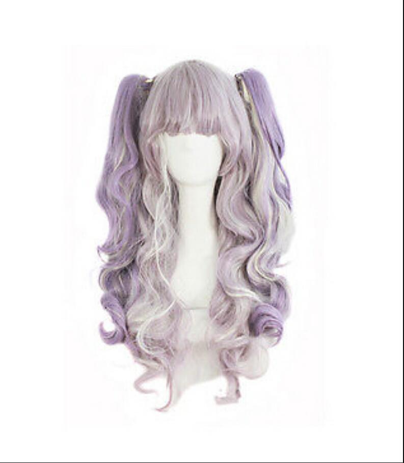 PELUCA envío libre de 70 cm de largo púrpura / blanco del arroz Clip rizado-En las colas de caballo del estilo de Lolita Cosplay